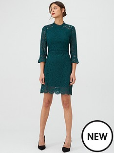 oasis-circle-lace-trim-sleeved-shift-dress-teal-green