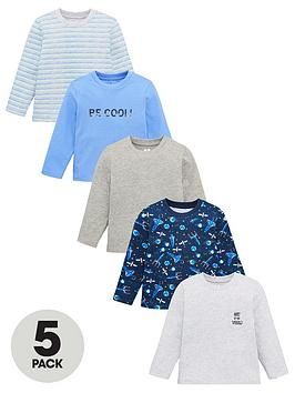v-by-very-boys-5-pack-space-stripes-and-slogan-t-shirts-multi