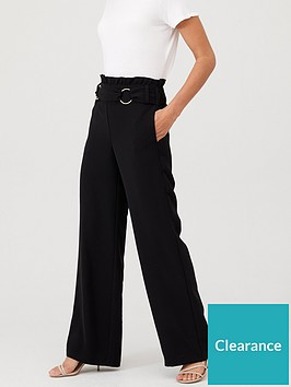 v-by-very-buckle-front-paperbag-waist-trouser-black