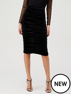 v-by-very-ruched-front-velvet-skirt-black