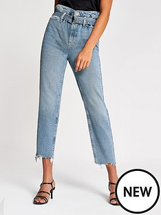 river-island-river-island-high-rise-ruched-waist-mom-jean--mid-auth