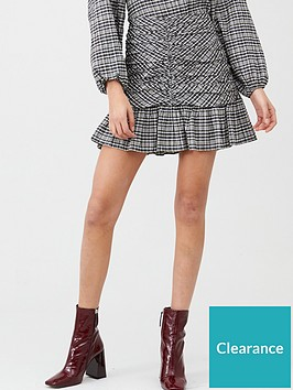 v-by-very-ruched-front-mono-check-mini-skirt-check