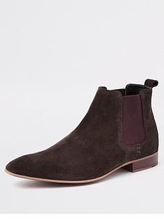 river-island-dark-brown-suede-chelsea-boots