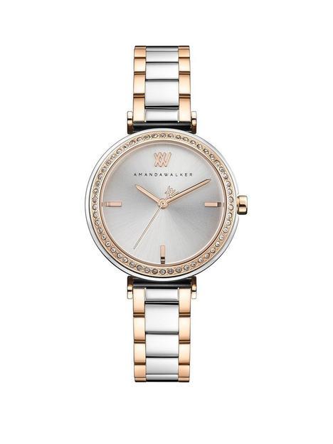 amanda-walker-amanda-walker-grace-silver-sunray-and-rose-gold-crystal-set-dial-two-tone-stainless-steel-bracelet-ladies-watch