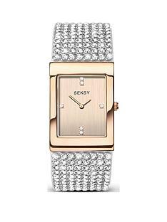 seksy-rose-gold-crystal-set-tank-dial-stainless-steel-bracelet-ladies-watch