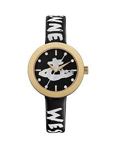 vivienne-westwood-vivienne-westwood-southbank-black-and-gold-bezel-graffiti-logo-dial-black-and-white-printed-leather-strap-watch