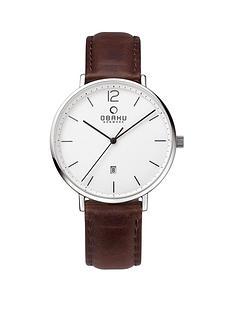 obaku-obaki-toft-white-date-dial-brown-leather-strap-mens-watch