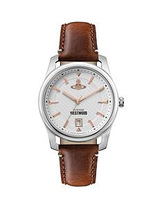 vivienne-westwood-vivienne-westwood-holborn-ii-white-textured-rose-gold-detail-date-dial-brown-leather-strap-watch