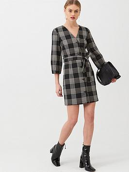warehouse-check-cocoon-sleeve-short-shift-dress-mono