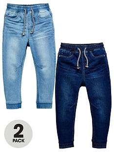 v-by-very-boys-2-pack-pull-on-carrot-fit-jeans-bleach-washmid-wash