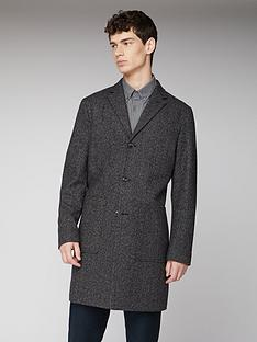 ben-sherman-herringbone-overcoat-coffee
