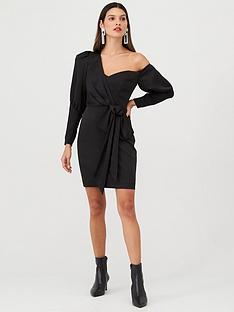 v-by-very-one-shoulder-tie-front-mini-dress-black