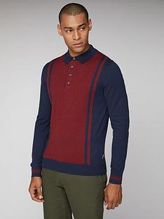 ben-sherman-long-sleeved-striped-polo-dark-navy