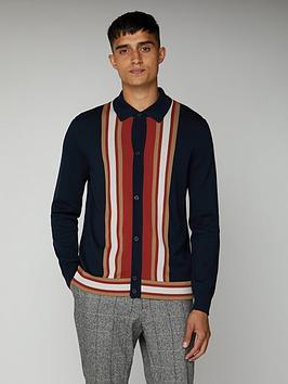 ben-sherman-long-sleeved-mod-button-through-polo-shirt-dark-navy