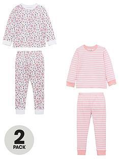 v-by-very-girls-2-pack-flower-and-stripe-pyjamas-pink-multi