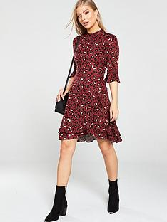 oasis-belinda-leopard-flute-sleeve-skater-dress-burgundy