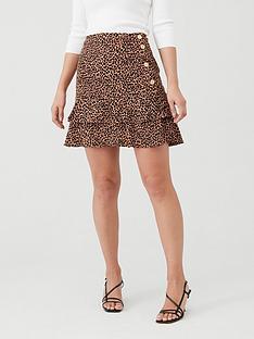 oasis-textured-animal-frill-mini-skirt-multi