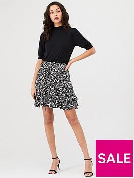 oasis-texture-print-2-in-1-skater-dress-multi-black