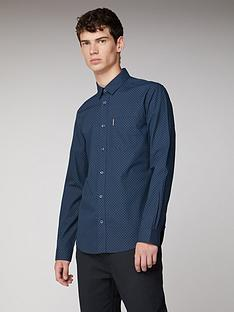 ben-sherman-ben-sherman-long-sleeve-sketched-micro-print-midnight