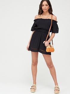 v-by-very-crinkle-lace-trim-bardot-beach-playsuit-black