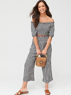 v-by-very-tie-waist-wide-leg-beachnbsptrousers-mono-gingham