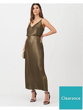 warehouse-pleated-foil-midi-dress-gold
