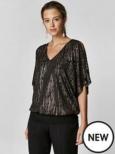 wallis-petite-foil-shimmer-banded-hem-top-black