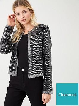 wallis-metallic-sparkle-jacket-silver