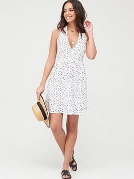 v-by-very-halter-neck-cotton-mini-beach-dress--spot-printnbsp