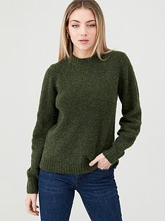 warehouse-teddy-boucle-blouson-sleeve-jumper--forest-green