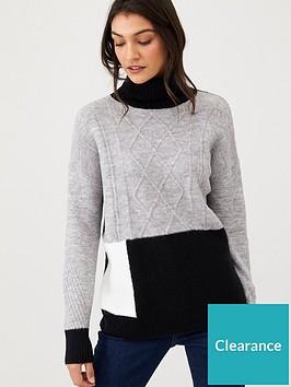 wallis-cable-patchwork-jumper-grey