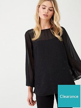 wallis-twinkle-overlay-blouse-black