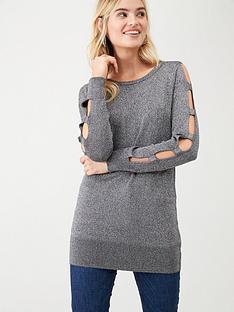 wallis-metallic-sparkle-cut-out-jumper-grey