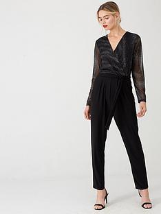 wallis-sparkle-mesh-sleeve-jumpsuit-black