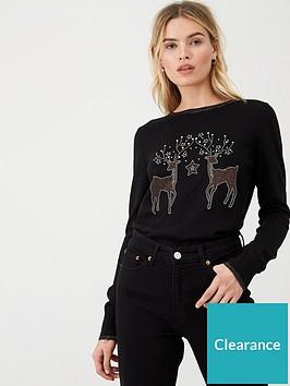 wallis-double-reindeer-jumper-black
