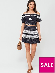 v-by-very-lace-trim-bardot-co-ord-top-navy