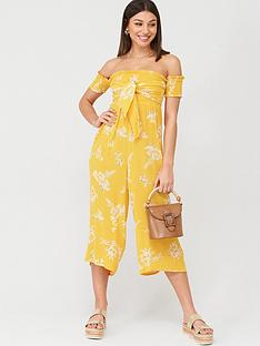 v-by-very-shirred-knot-detail-bardot-beachnbspjumpsuit-yellow