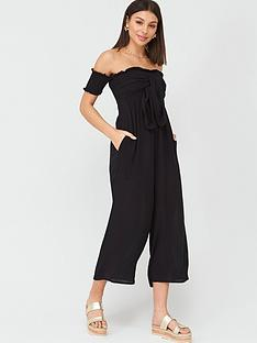 v-by-very-shirred-knot-detail-bardot-beachnbspjumpsuit-black