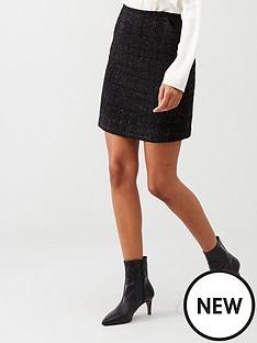 warehouse-sparkle-check-skirt-black