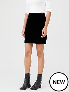 warehouse-velvet-pelmet-skirt-black