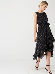 wallis-sparkle-ruffled-midi-dress-black