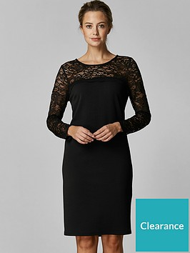 wallis-petite-lace-yolk-dress-black