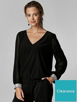 wallis-petite-disco-trim-banded-hem-top-black