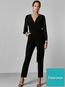 wallis-petite-disco-trim-jumpsuit-black