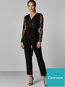 wallis-petite-floral-sequin-mesh-jumpsuit-black