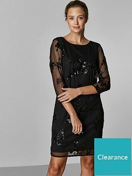 wallis-petite-floral-sequin-mesh-dress-black