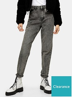topshop-tall-ripped-hem-mom-jeans-grey