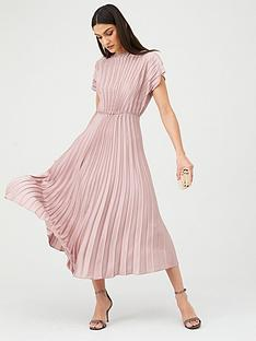 v-by-very-pleated-satin-midi-dress-pink