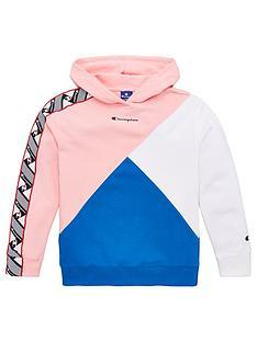 champion-girls-colour-block-taped-hoodie-pinkbluewhite