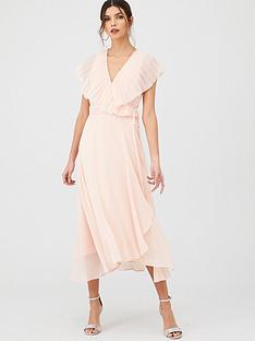v-by-very-pleated-cape-woven-midi-dress
